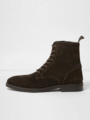 Boots & kängor - River Island River Island Mens Dark Brown suede lace-up boots