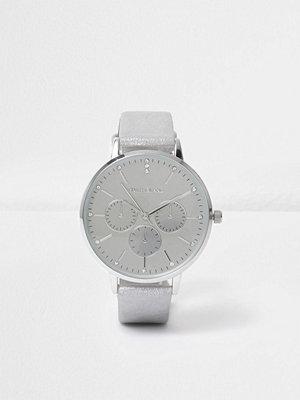 Klockor - River Island River Island Womens Silver tone metallic circle watch