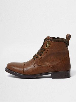 Boots & kängor - River Island River Island Mens Brown lace-up toe cap boots