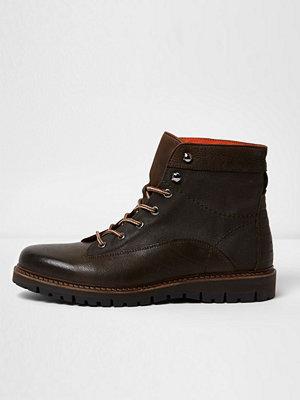 Boots & kängor - River Island River Island Mens Dark Green and brown mixed texture work boots