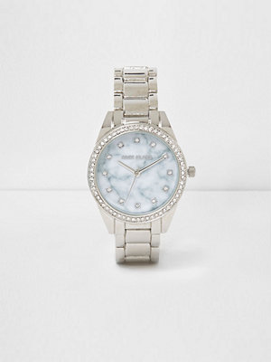 Klockor - River Island River Island Womens Silver tone marble round face watch