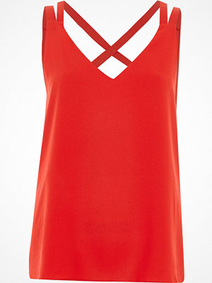 River Island Petite Red cross back double strap cami top