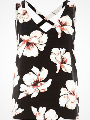 River Island River Island Womens Petite Black floral print cross back cami top