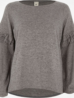 River Island River Island Womens Grey frill balloon sleeve knit top