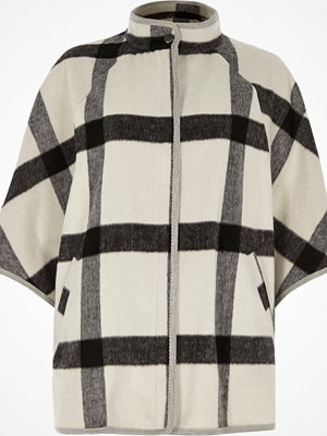 River Island River Island Womens White oversized check cape high neck jacket