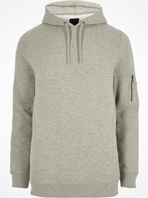 Street & luvtröjor - River Island Grey marl zip sleeve hoodie