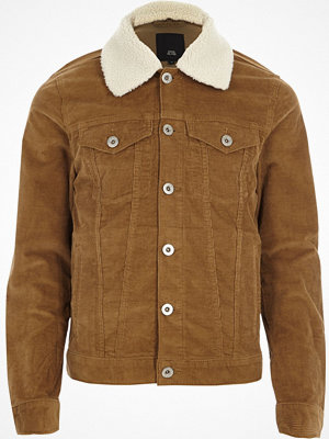 River Island Tan borg collar cord jacket