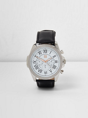 Klockor - River Island River Island Mens Black large embellished round case watch