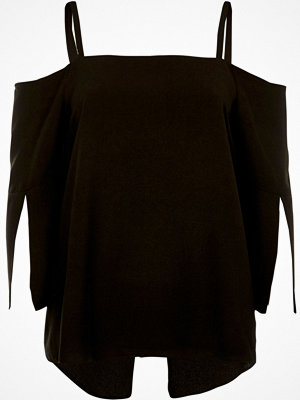 River Island River Island Womens Black cold shoulder split sleeve top