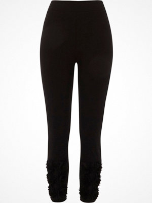 Leggings & tights - River Island River Island Womens Black 3D flower hem leggings