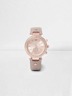 Klockor - River Island River Island Womens Plus Grey and rose gold tone diamante watch