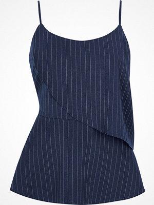 River Island River Island Womens Navy stripe asymmetric frill layer cami top