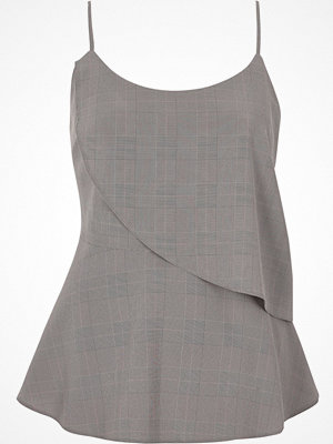 River Island River Island Womens Grey check asymmetric frill layer cami top