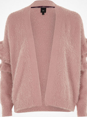 Cardigans - River Island River Island Womens Dusty Pink fluffy frill sleeve cardigan