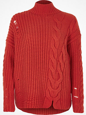 River Island River Island Womens Bright Red cable knit high neck jumper