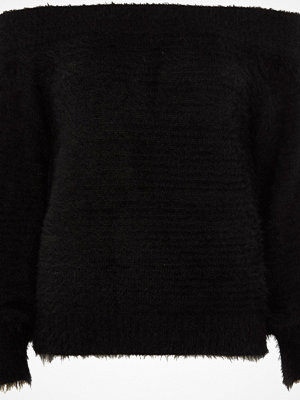 River Island River Island Womens Black bardot fluffy knit jumper