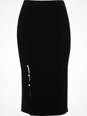 Kjolar - River Island River Island Womens Black faux pearl split knitted pencil skirt