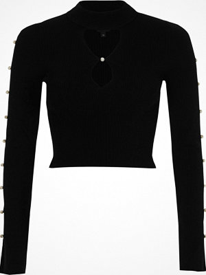 River Island River Island Womens Black faux pearl cut out long sleeve knit top