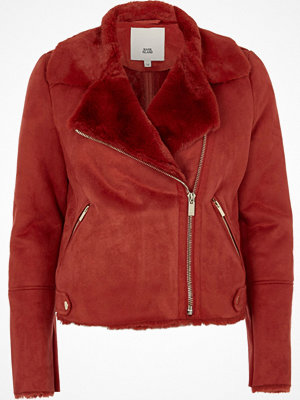 River Island River Island Womens Red faux shearling biker jacket