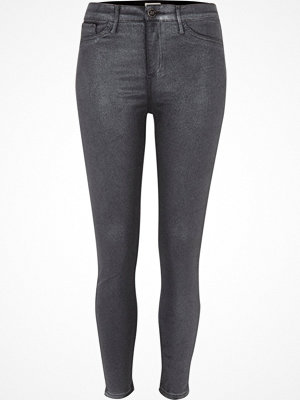 River Island Grey glitter coated skinny Molly jeggings
