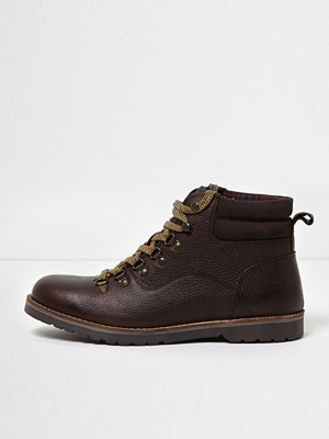 Boots & kängor - River Island River Island Mens Brown leather lace-up work boots
