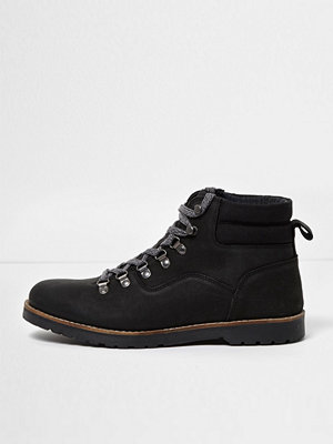 Boots & kängor - River Island River Island Mens Black leather lace-up work boots