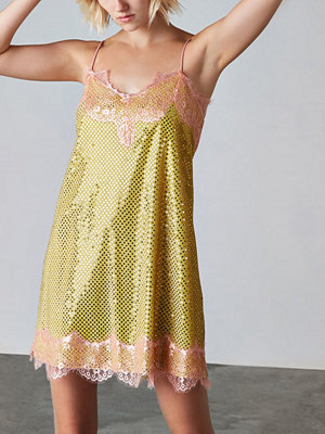 River Island River Island Womens Yellow Ashish sequin lace slip dress