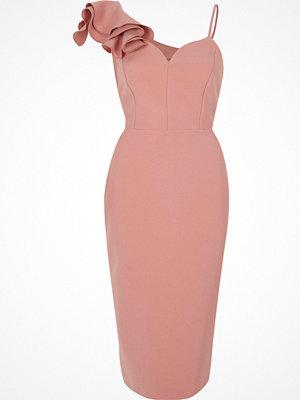 River Island River Island Womens Light Pink frill shoulder bodycon midi dress
