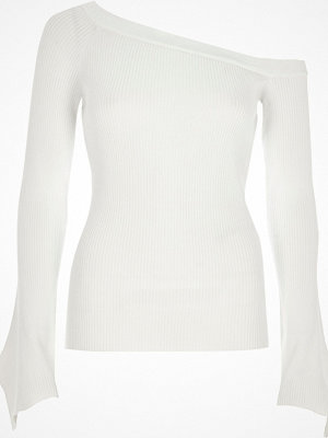 Tröjor - River Island River Island Womens White bardot asymmetric sleeve knitted top