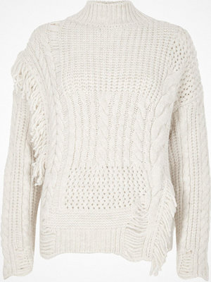 River Island River Island Womens Cream mixed stitch fringe cable knit jumper