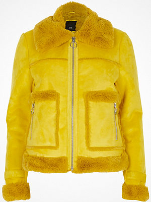 River Island River Island Womens Yellow faux shearling trucker jacket