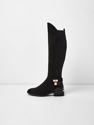 Boots & kängor - River Island River Island Womens Black wide fit knee high riding boots