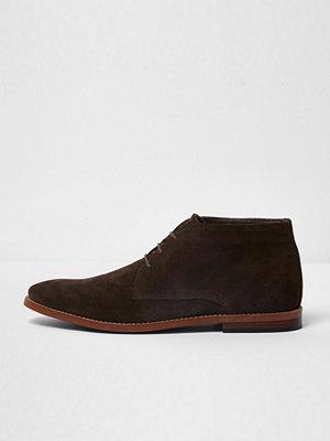 Boots & kängor - River Island River Island Mens Dark Brown suede desert boots