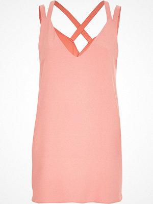 River Island Pink double strap cross back vest