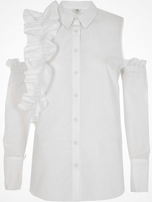 River Island River Island Womens White frill cold shoulder shirt