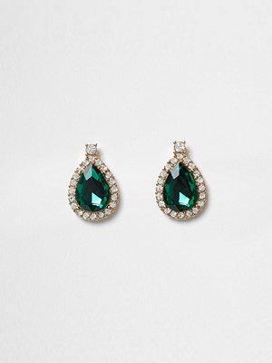 River Island örhängen Green teardrop jewel stud earrings