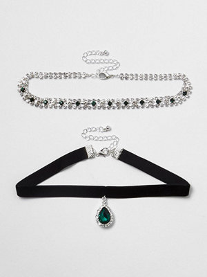 Chokers - River Island River Island Womens Green emerald tone jewel velvet choker set