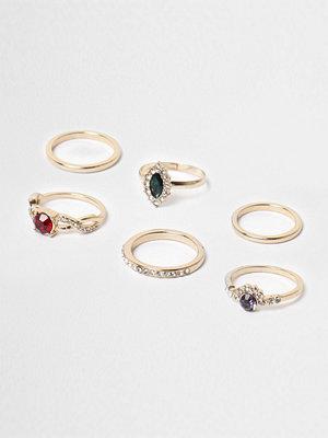 River Island River Island Womens Gold tone jewel stone ring pack
