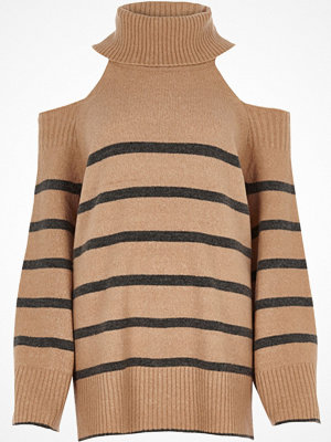 River Island River Island Womens Beige stripe roll neck cold shoulder jumper