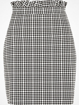 River Island White gingham paperbag waist mini skirt