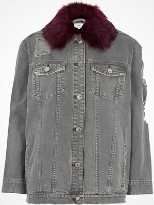 River Island Grey oversized faux fur collar denim jacket