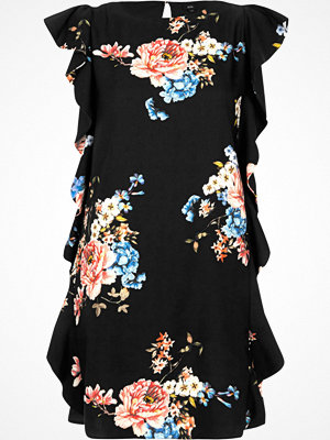 River Island Black floral frill sleeveless swing dress