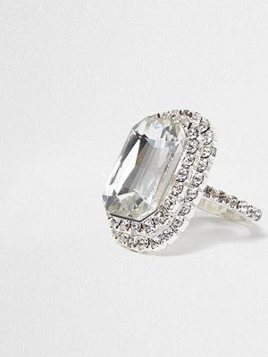 River Island River Island Womens Silver tone jewel rectangle ring