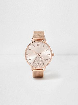 Klockor - River Island River Island Womens Rose Gold tone mesh strap watch