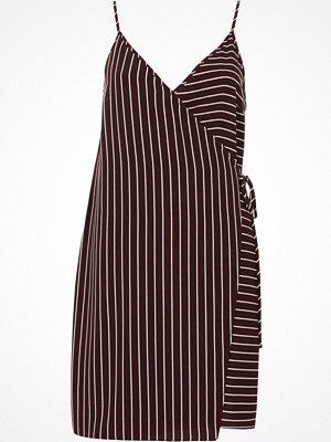 River Island River Island Womens Red stripe wrap front cami slip dress