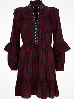 River Island River Island Womens Red check frill high neck dress