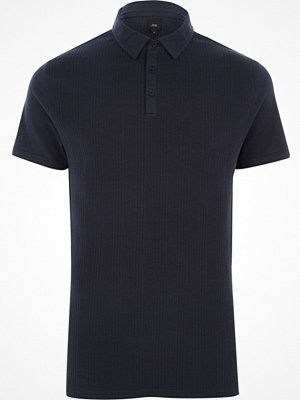 Pikétröjor - River Island Navy slim fit waffle block polo shirt