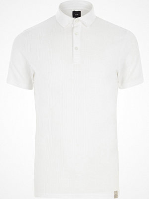 Pikétröjor - River Island White muscle fit waffle block polo shirt