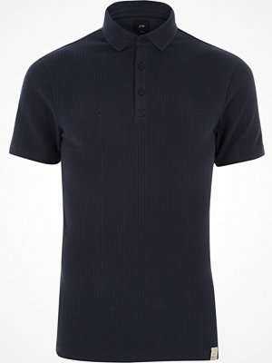 Pikétröjor - River Island Navy muscle fit waffle block polo shirt