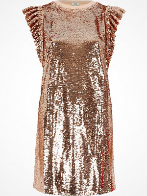 River Island River Island Womens Rose Gold tone sequin frill oversized T-shirt